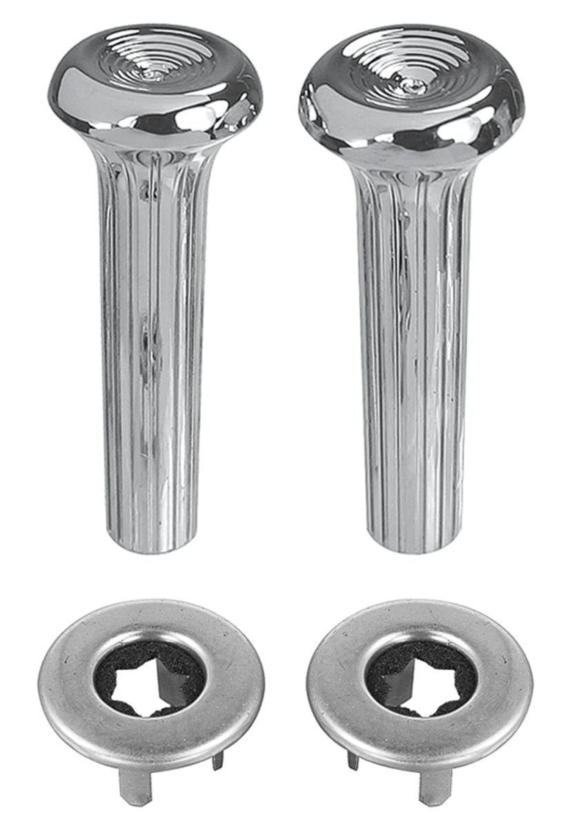 Knob, Ferrulle Door Lock (Ribbed) Kit 1968-88, Chrome