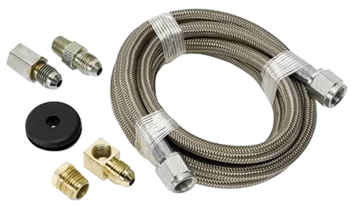 Hose, Braided Stainless Steel, Auto Meter, #4, 6 Feet Long, w/ Fittings, 3/16
