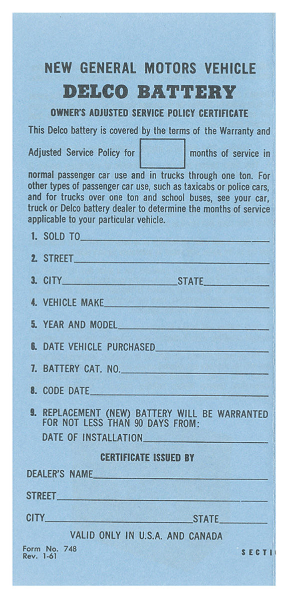 Decal, 61-64 GM, Interior, Owners Certificate, Delco Battery