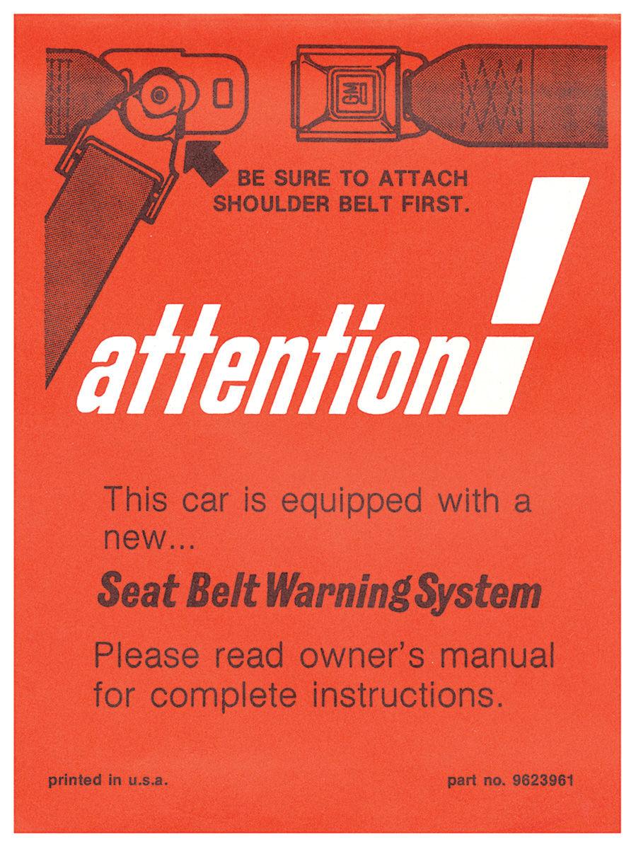 Sleeve, 72 GM, Interior, Visor, Instruction, Seat Belt Warning