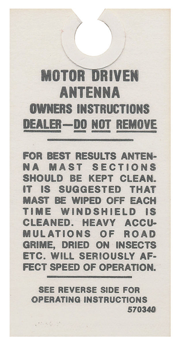 Tag, 63 Riviera, 59-63 Pontiac, 54-63 Cadillac, Power Antenna Instruction