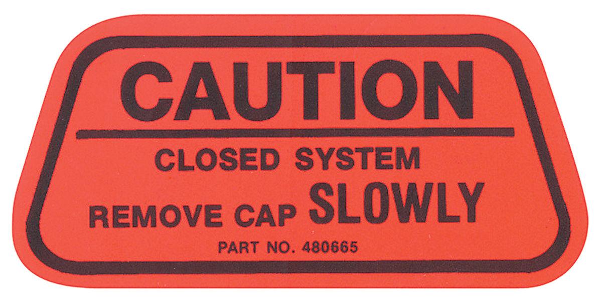 Decal, 70 GM, Caution, Gas Cap, California