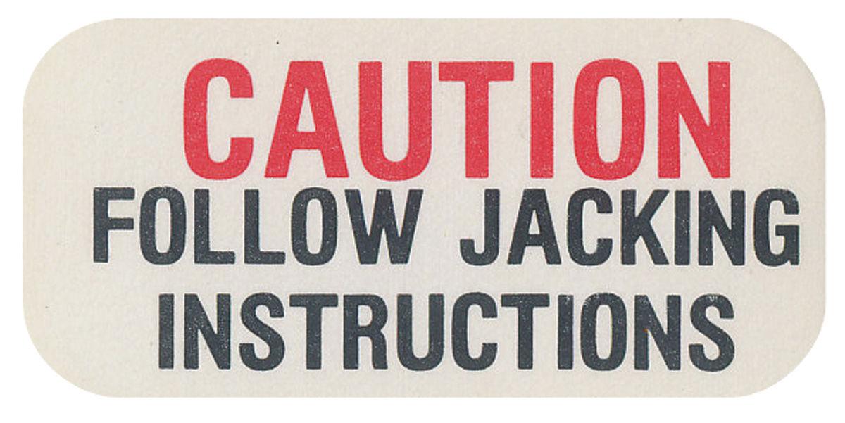 Decal, 62-64 Cadillac, 63-64 Riviera, Jack Base Caution
