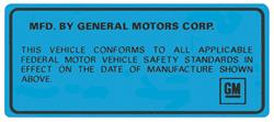 Decal, 69-74 GM, Interior, Vehicle Certification Kit