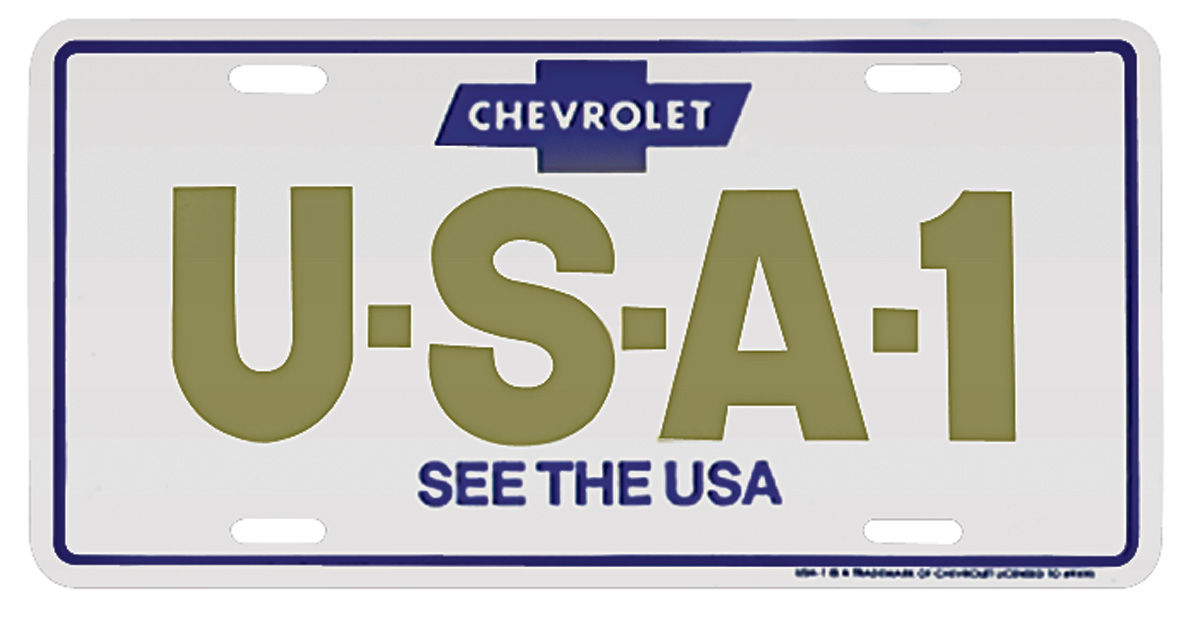 License Plate, USA-1 w/See the USA