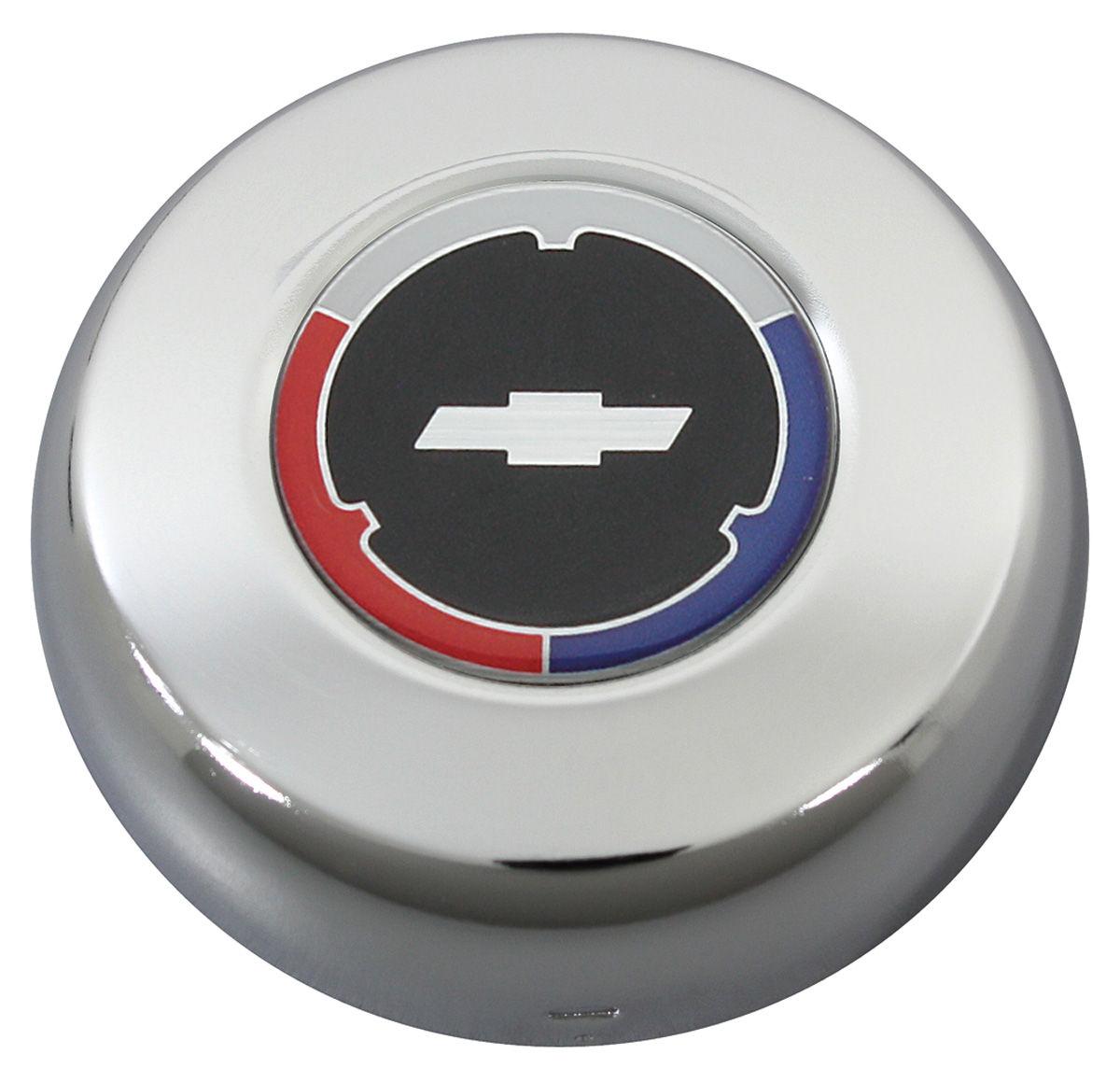 Chrome Chevrolet Horn Cap w/White Bowtie on Black