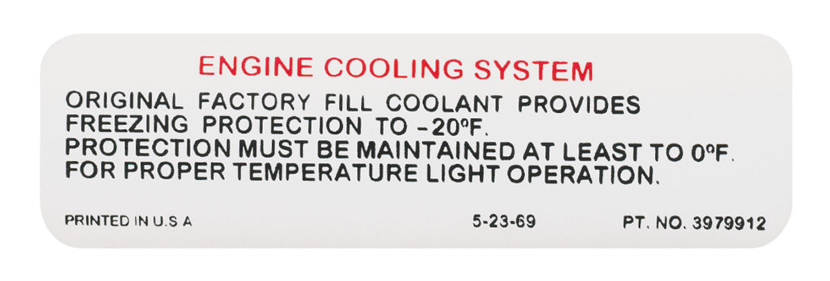 Decal, 70-72 Chevrolet, Pontiac A Body, Cooling System, Factory Coolant