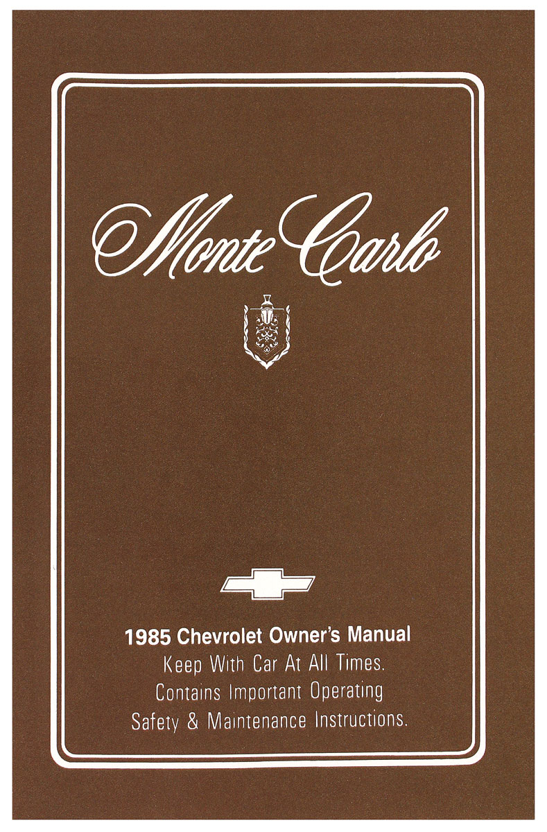 Owners Manual, 1985 Monte Carlo