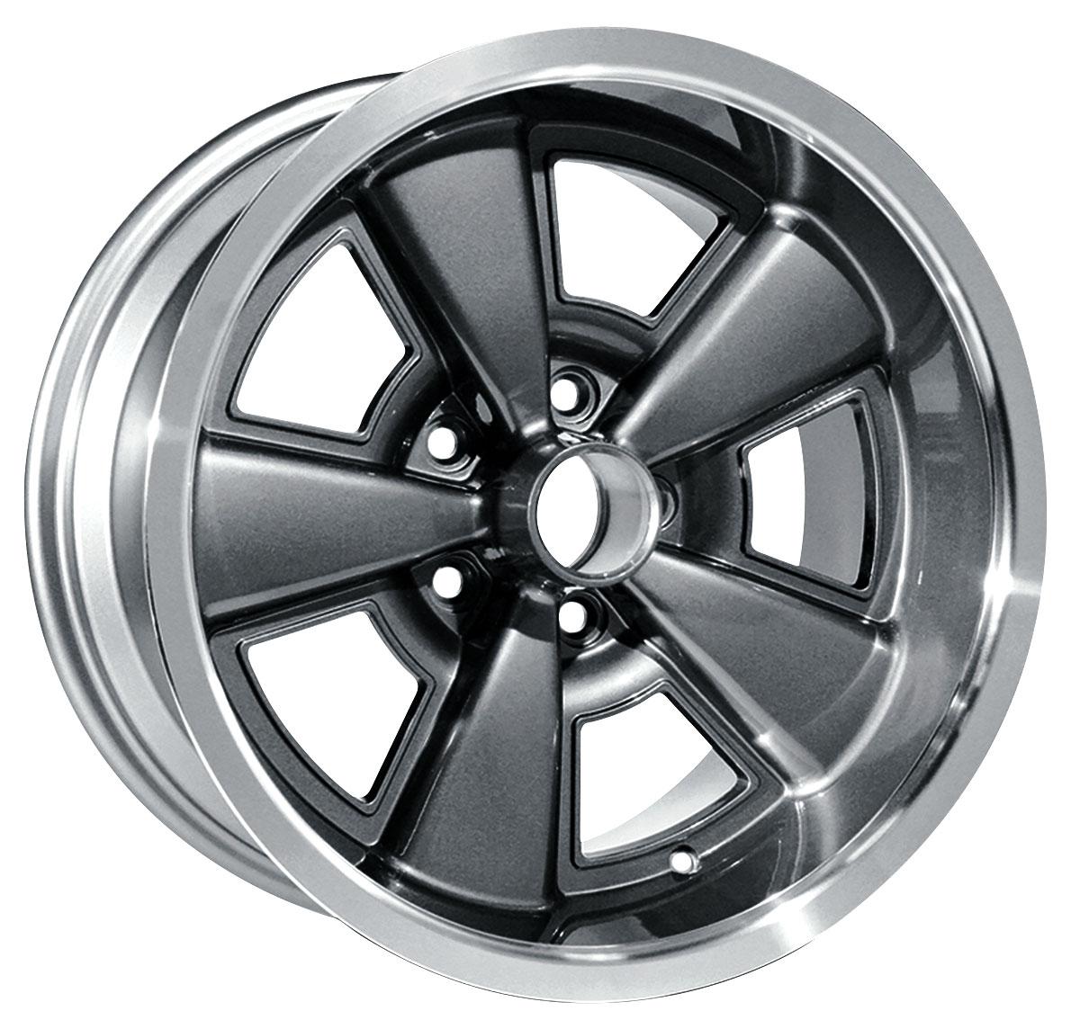 "Aluminum Rally Wheel, 1971-72 CH/EC/MC, Gunmetal, 17x9, 5.125"" B.S."