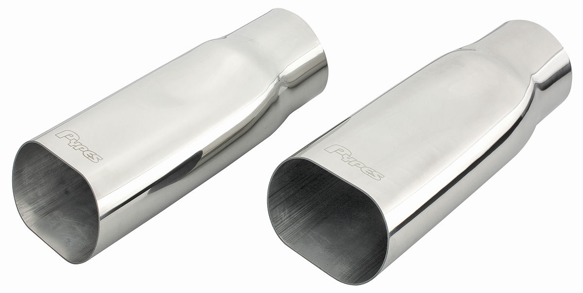 Exhaust Tips, Oval, Pypes, Chrome, Pair