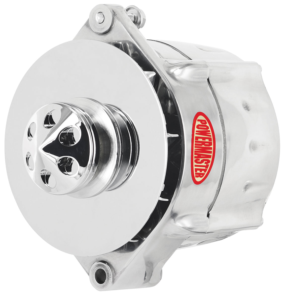 Alternator, Powermaster, 59-88 GM Cars, 12SI, Smooth, Polished, 150AMP, 1V