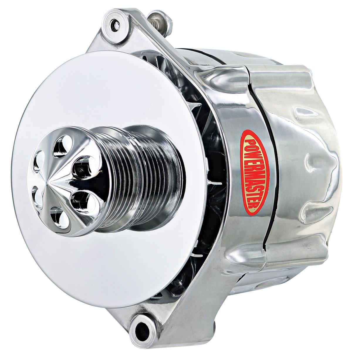 Alternator, Powermaster, 59-88 GM Cars, 12SI, Smooth, Polished, 150AMP, 6-Rib