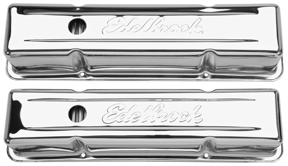 Valve Covers, Chevy Small Block, Edelbrock, Chrome, Tall