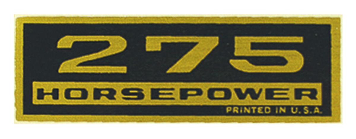 Decal, Chevelle/El Camino/Monte Carlo, Valve Cover, 275HP, Black/Gold