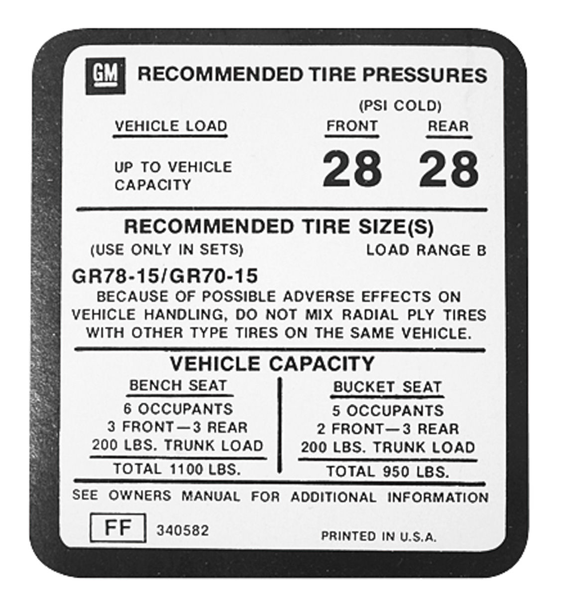 Decal, 75-77 Monte Carlo, Glove Box, Tire Pressure