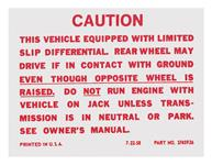 Decal, 64-71 GM, Trunk, Posi-Traction Label