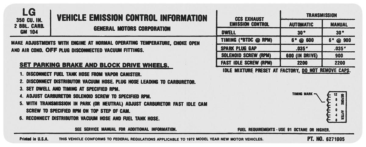 Decal, 72 Chevelle/El Camino/Monte Carlo, Emissions , 350 2V