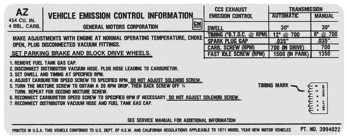 Decal, 71 Chevelle/El Camino/Monte Carlo, Emissions , 454 4V, 425HP
