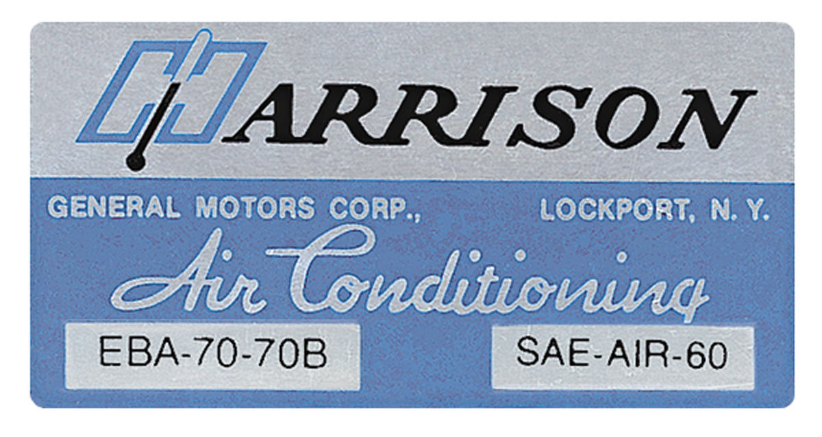 Decal, 70 GM, Evaporator Box, Harrison Air Conditioning, EBA7070B