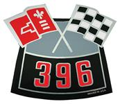 Decal, Chevelle/El Camino, Air Cleaner, 396 Crossed Flags