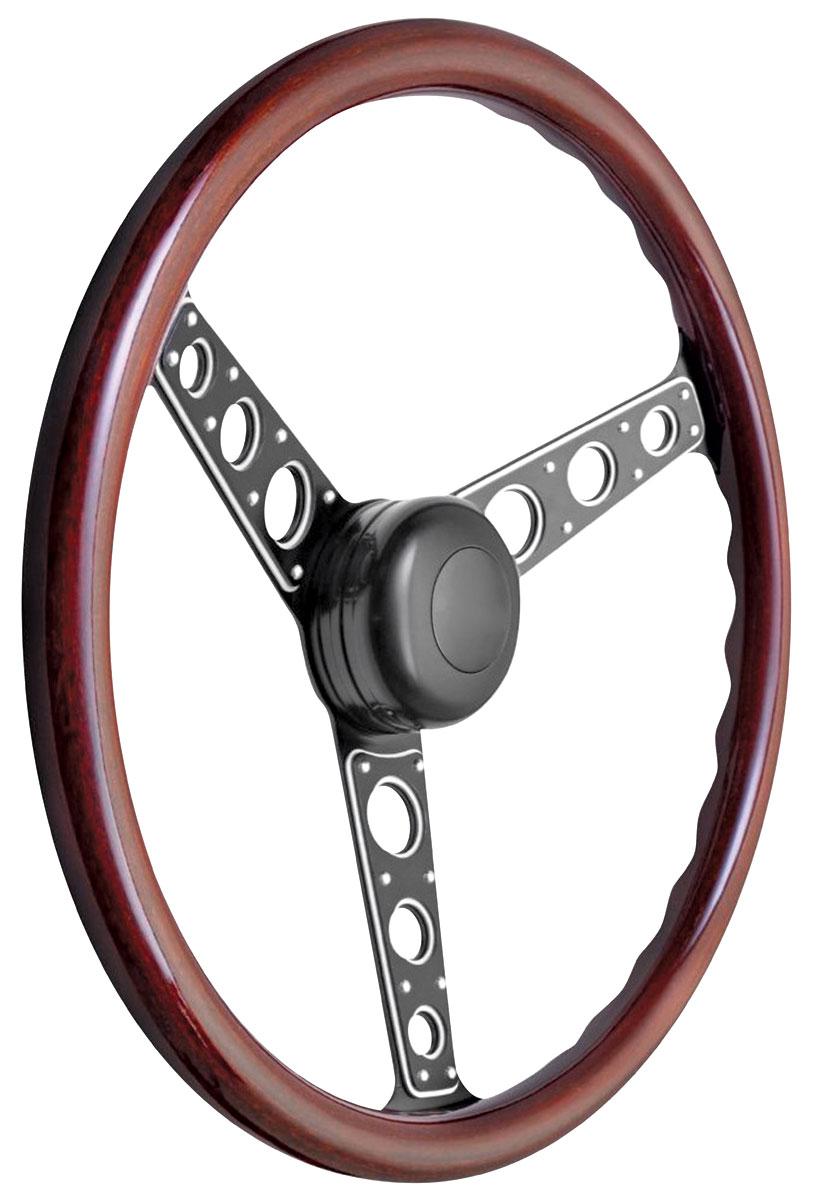 Steering Wheel Kit, 1959-68 GM, Autocross II, Plain Cap, Wood