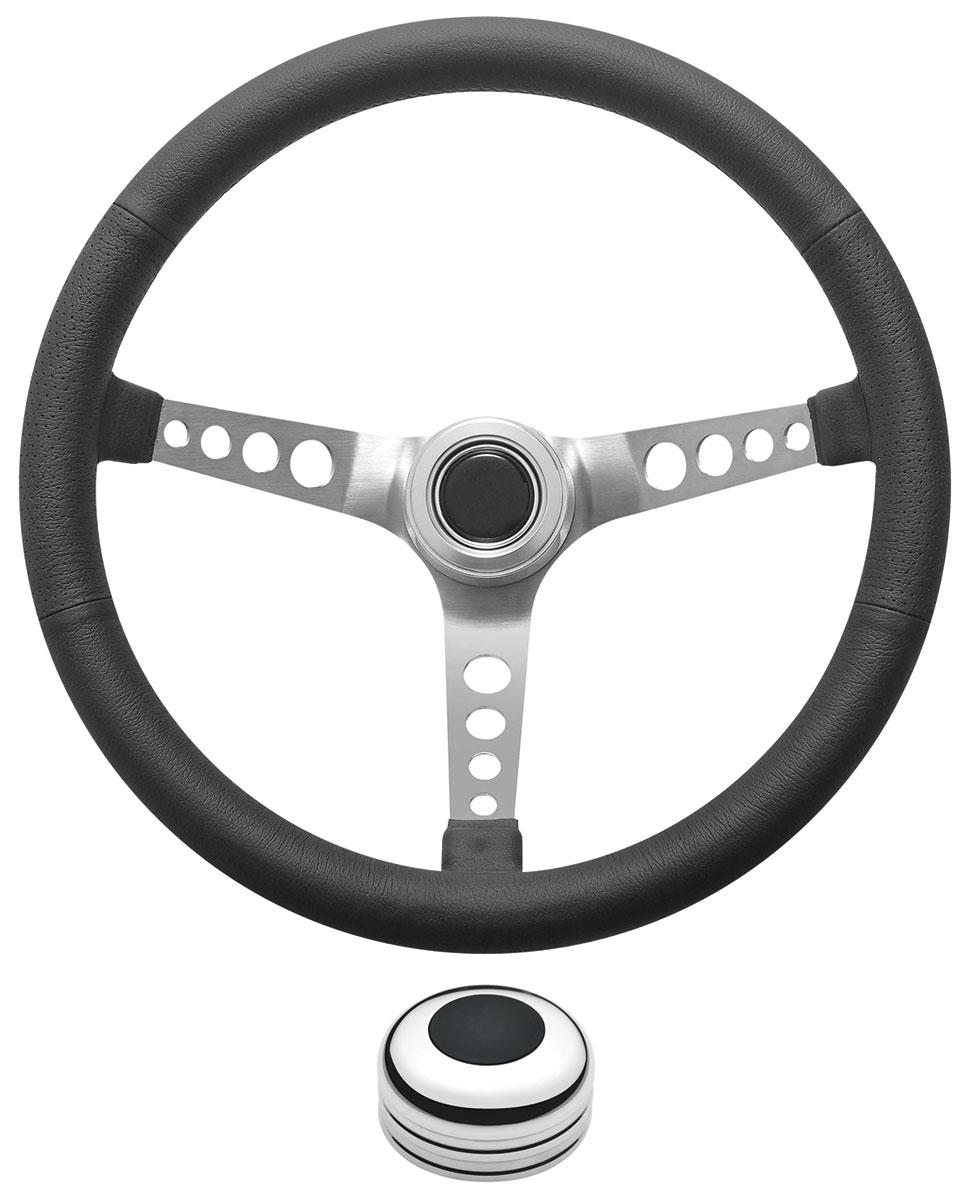 Steering Wheel Kit, 1959-68 GM, Retro w/Holes, Plain,Black/Polished Cap