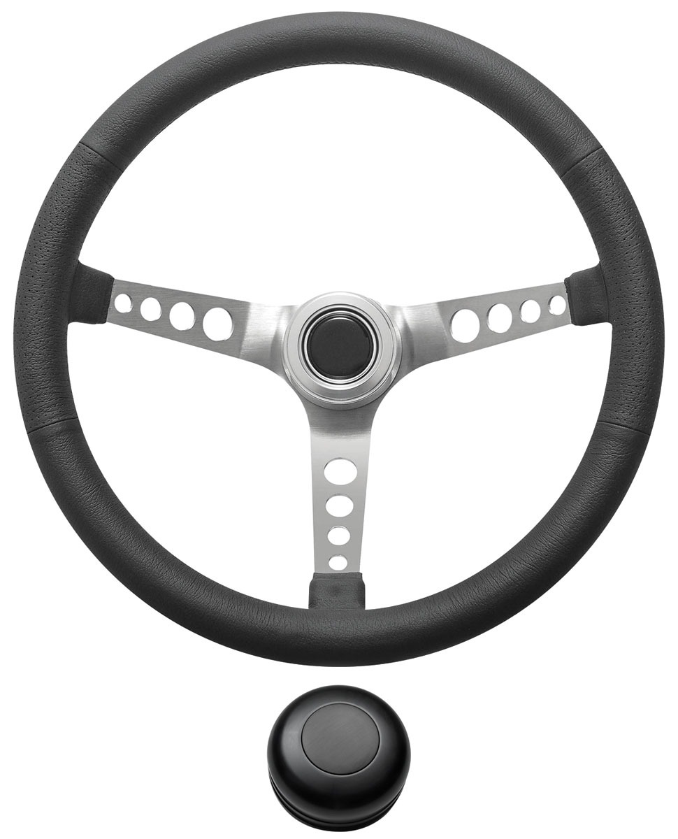 Steering Wheel Kit, 1959-68 GM, Retro w/Holes, Plain Cap, Black