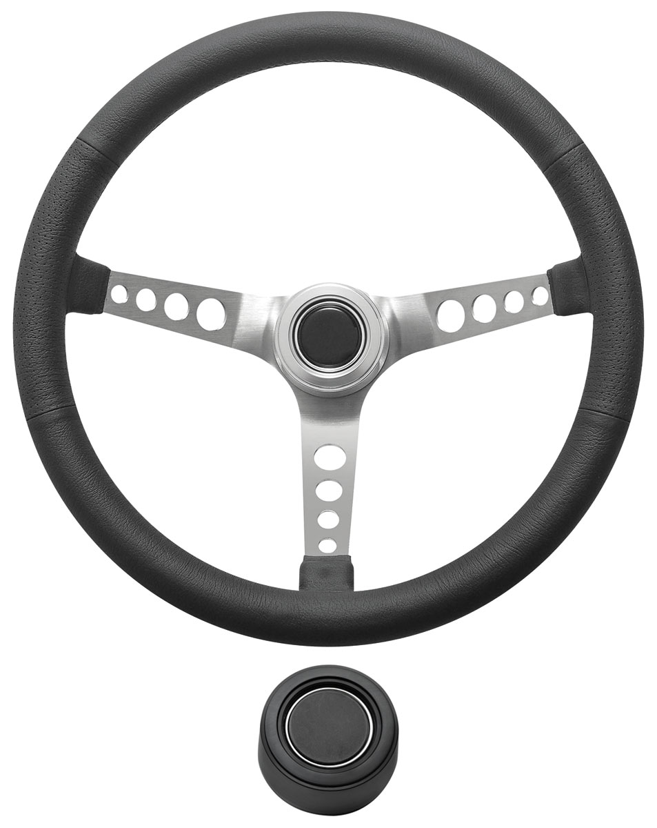 Steering Wheel Kit, 1959-68 GM, Retro w/Holes, Plain Cap, Black, Hi-Rise