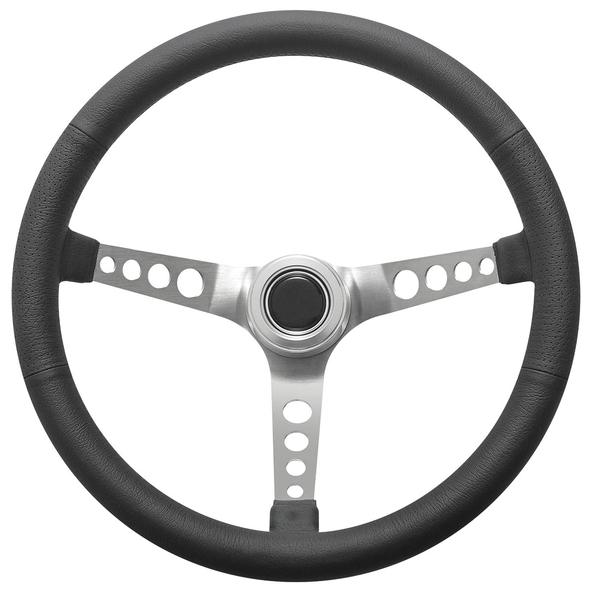 Steering Wheel Kit, 1969-89 GM, Retro w/Holes, Plain Cap Polished, Hi-Rise
