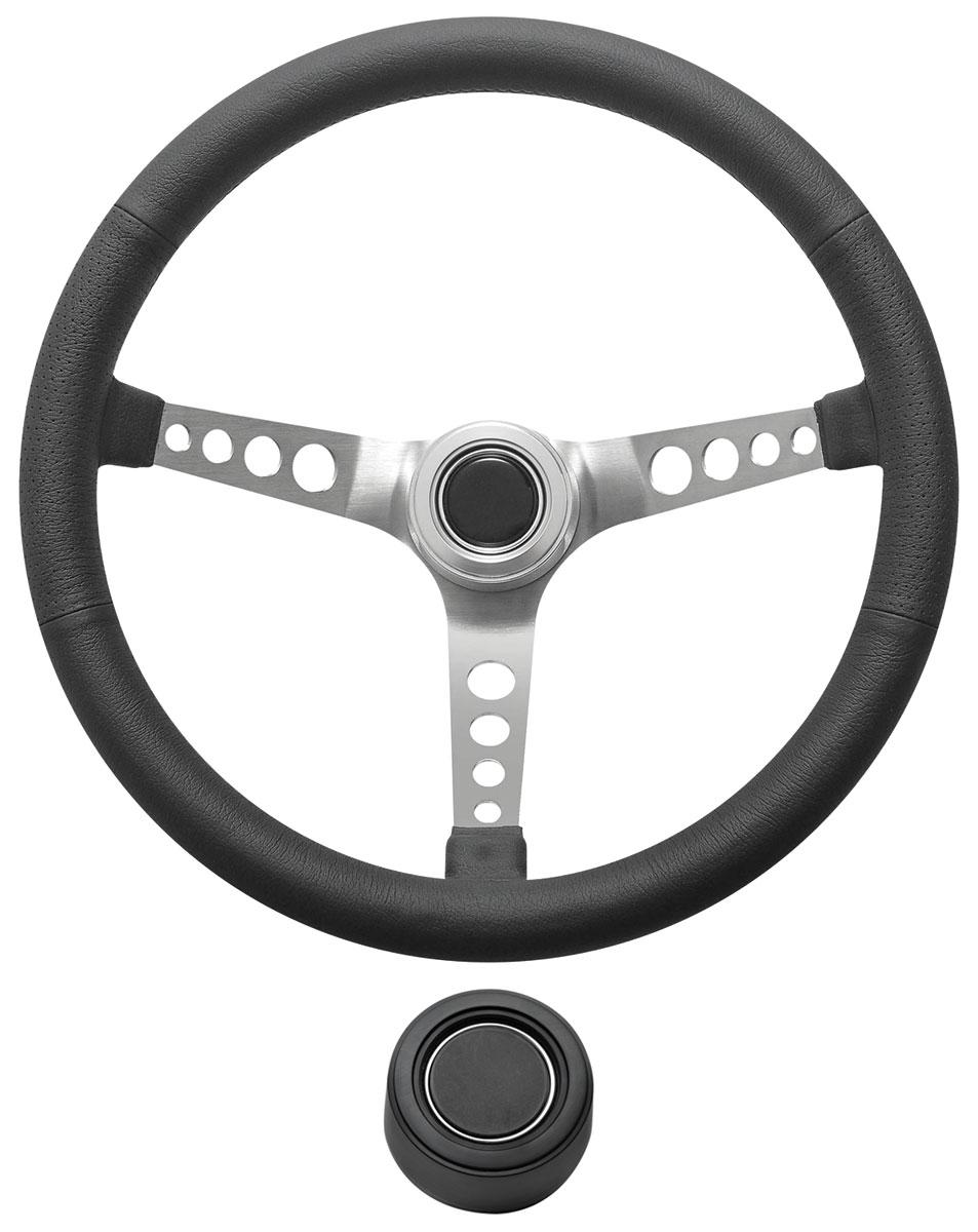 Steering Wheel Kit, 1969-89 GM, Retro w/Holes, Plain Cap, Black, Hi-Rise