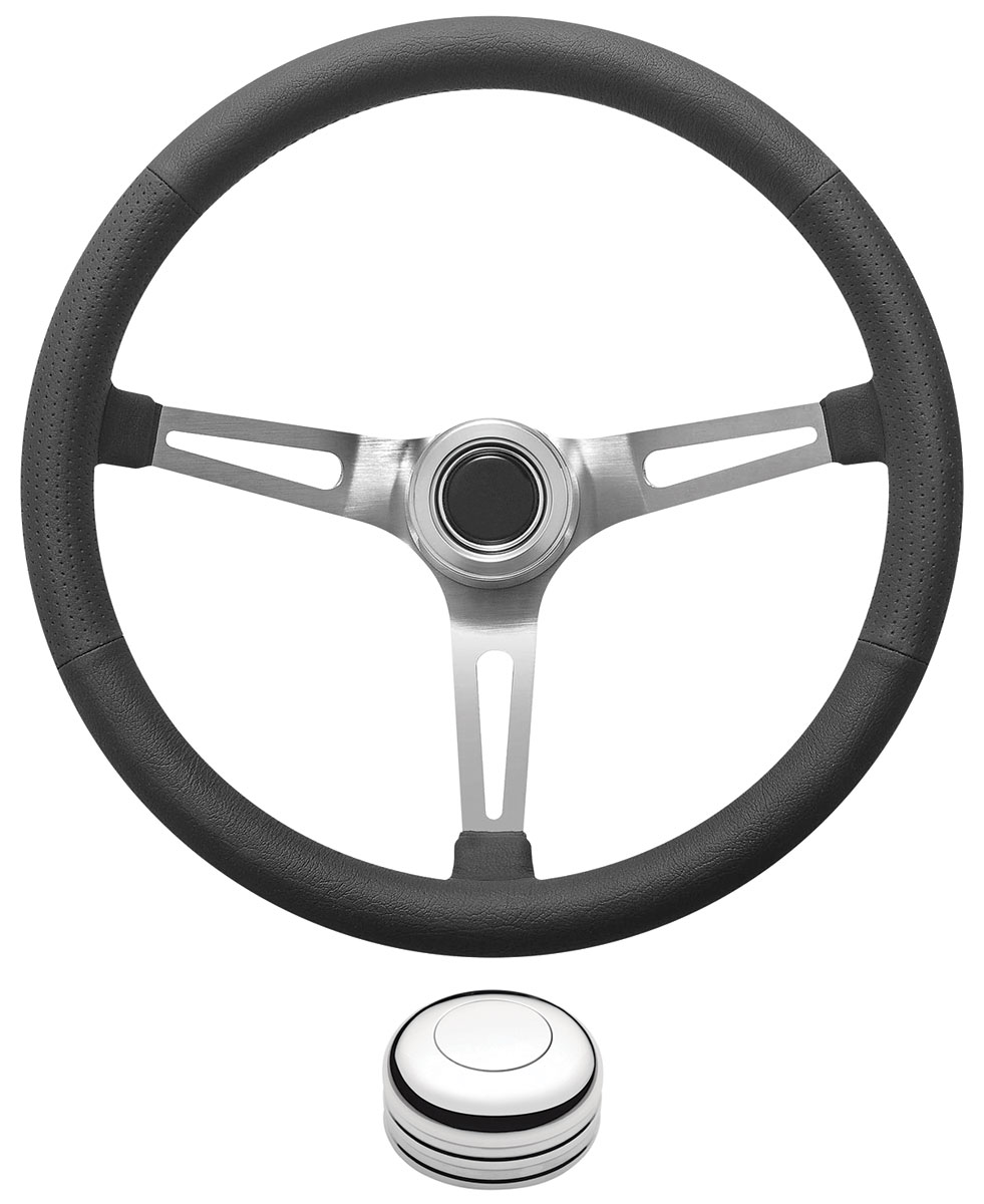 Steering Wheel Kit, 1969-89 GM, Retro w/Slots, Plain Cap, Polished