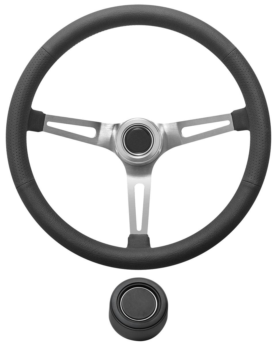 Steering Wheel Kit, 1969-89 GM, Retro w/Slots, Plain Cap, Black, Hi-Rise