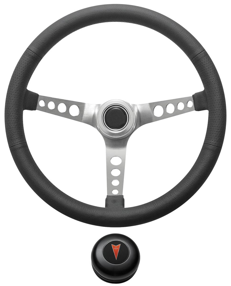 Steering Wheel Kit, 1969-77 Pontiac, Retro w/Holes, Pontiac Crest Cap, Black