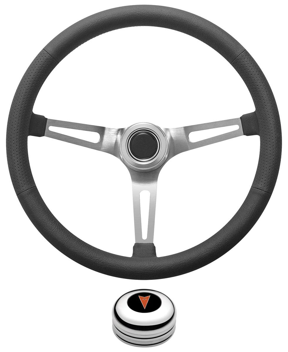 Steering Wheel Kit,1959-68 Pontiac, Retro w/Slots, Pontiac Crest Cap, Polished