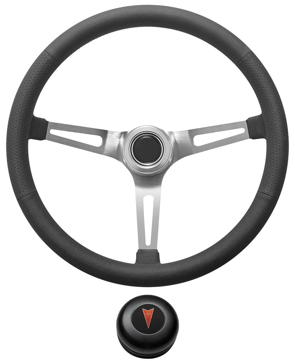 Steering Wheel Kit, 1969-77 Pontiac, Retro w/Slots, Pontiac Crest Cap, Black