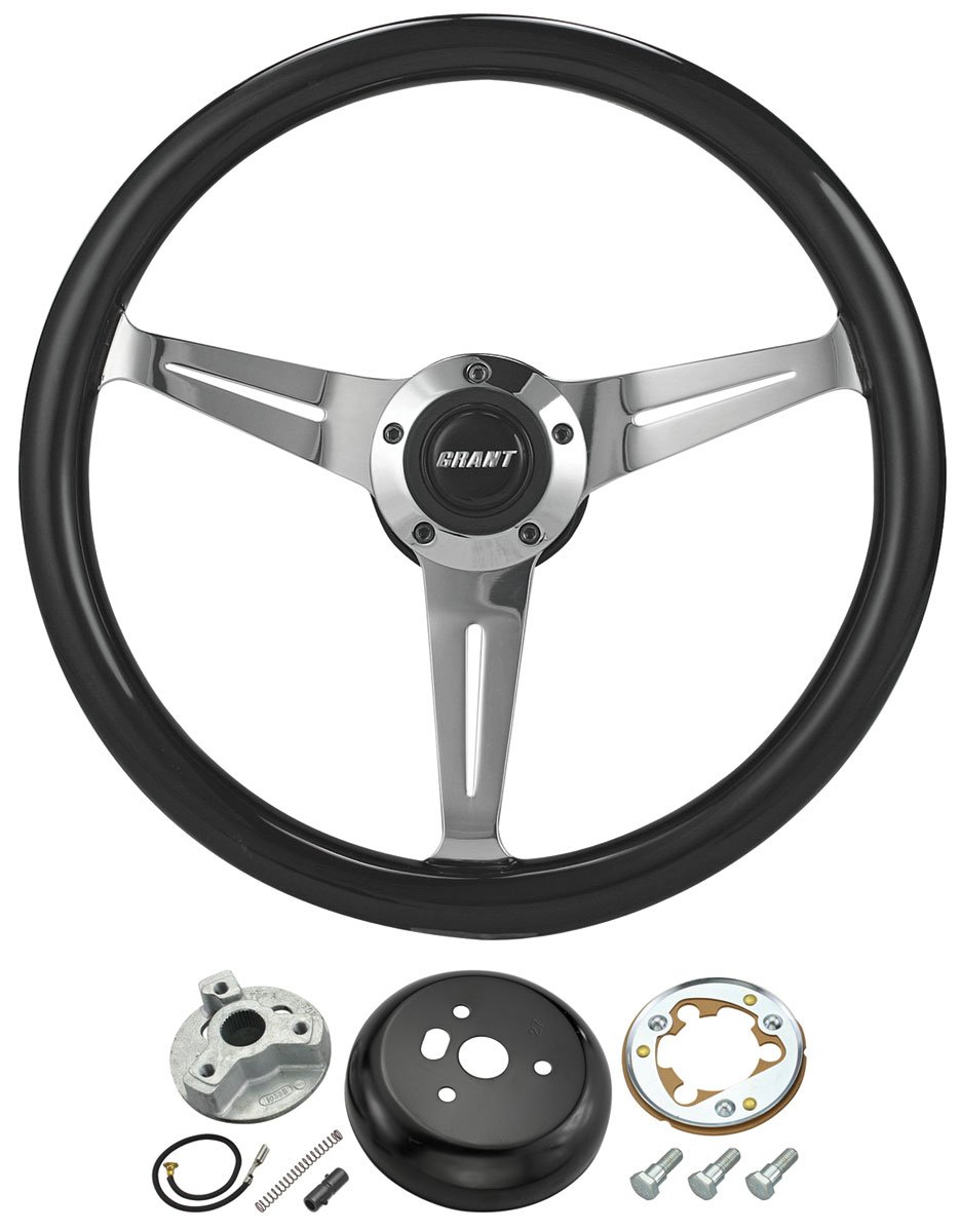 Steering Wheel Kit, Collectors, 1969-88 CH/EC, Black Stained w/ Chevrolet Cap