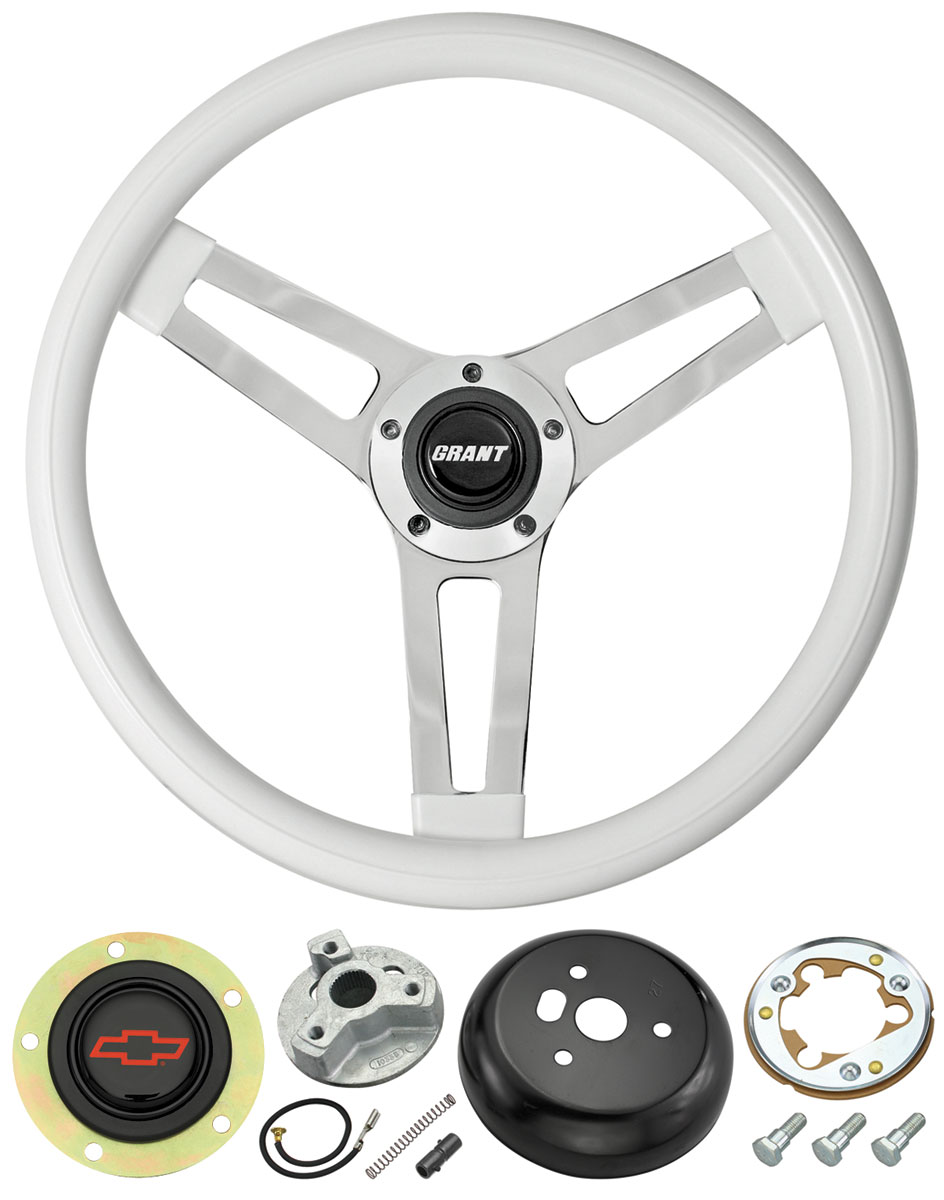 Steering Wheel, Classic 5, 1969-88 Chevrolet, White w/ Red Bowtie Cap