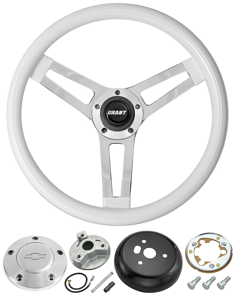 Steering Wheel, Classic 5, 1969-88 Chevrolet, White w/ Billet Bowtie Cap
