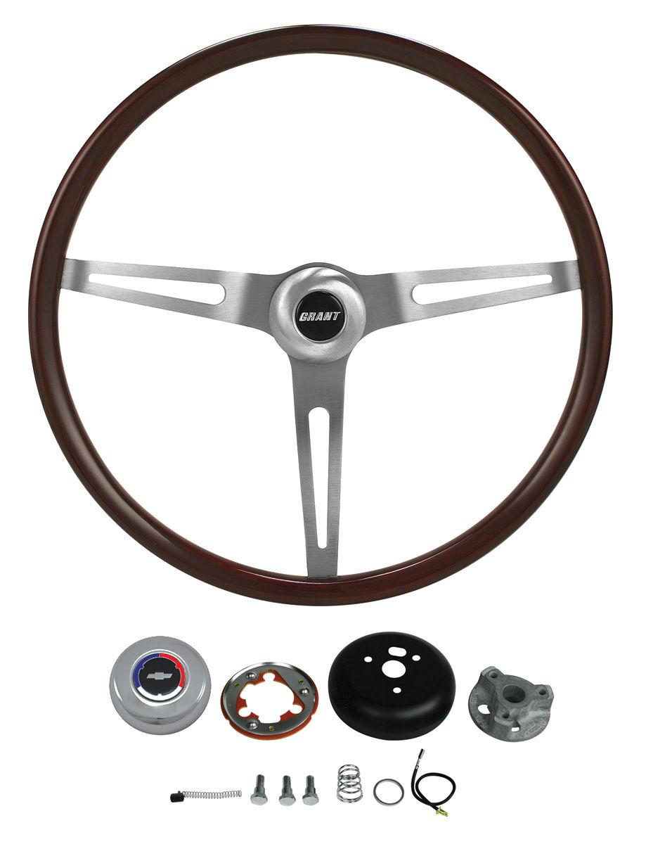 Steering Wheel Kit, Aftermarket Classic Dark Mahogany, 1969-88 CH/EC, 3-bolt