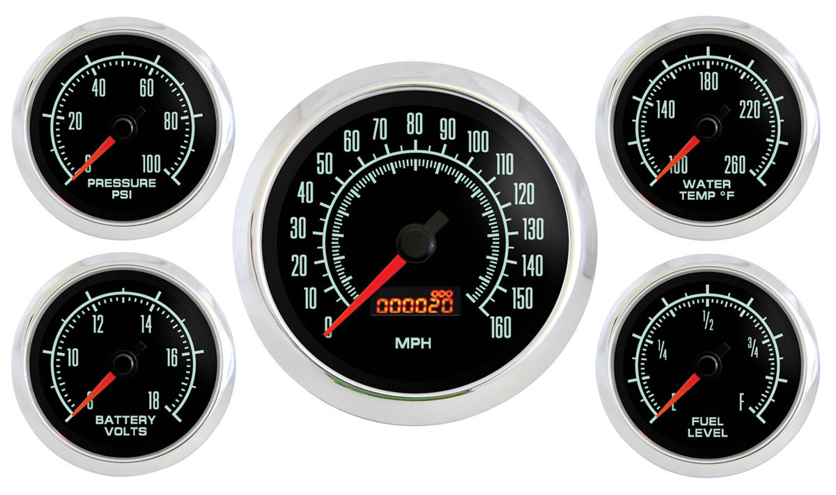 Gauge Kit, Marshall Instruments, Retro Muscle, 5 Piece w/ Speedometer