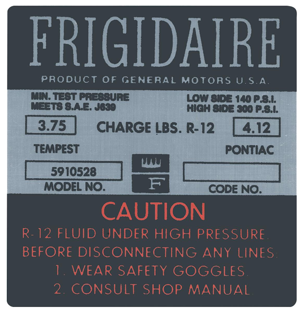 Decal, 66 Pontiac, Air Conditioning Compressor, Frigidaire