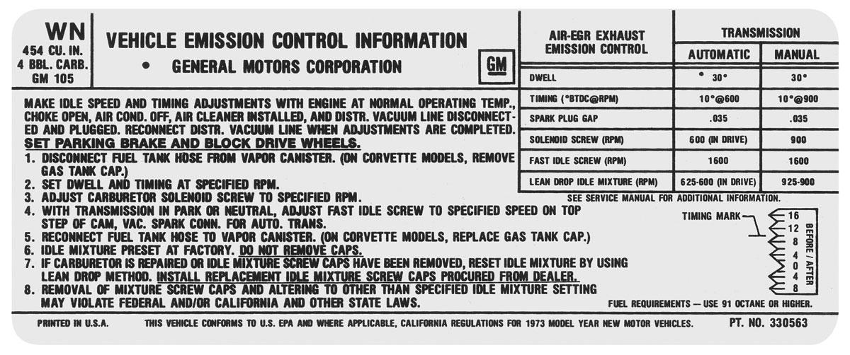 Decal, 73 Chevelle/El Camino/Monte Carlo, Emissions , 454 4V