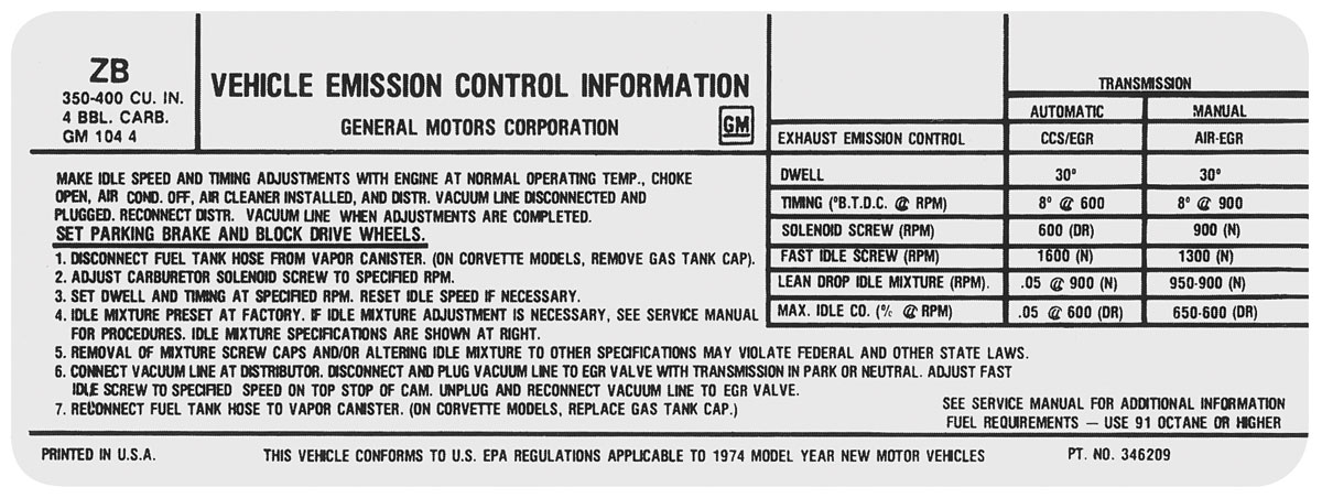 Decal, 74 Chevelle/El Camino/Monte Carlo, Emissions , 350/400 4V