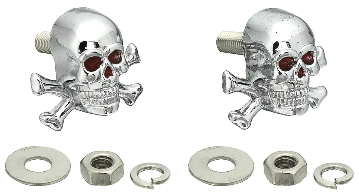 Fasteners, License Plate, Skull/X-Bone