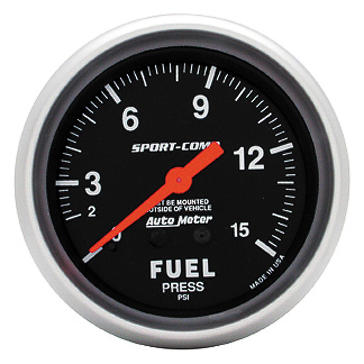 Gauge, Fuel Pressure, Auto Meter, Sport-Comp, 2-5/8