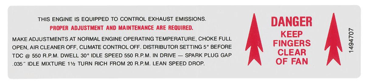 Decal, 69 Cadillac, Emission, Fan Caution