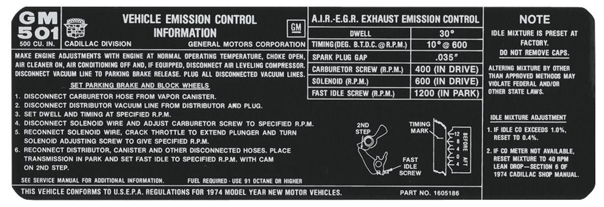 Decal, 74 Cadillac, Emission, 500, 1605186