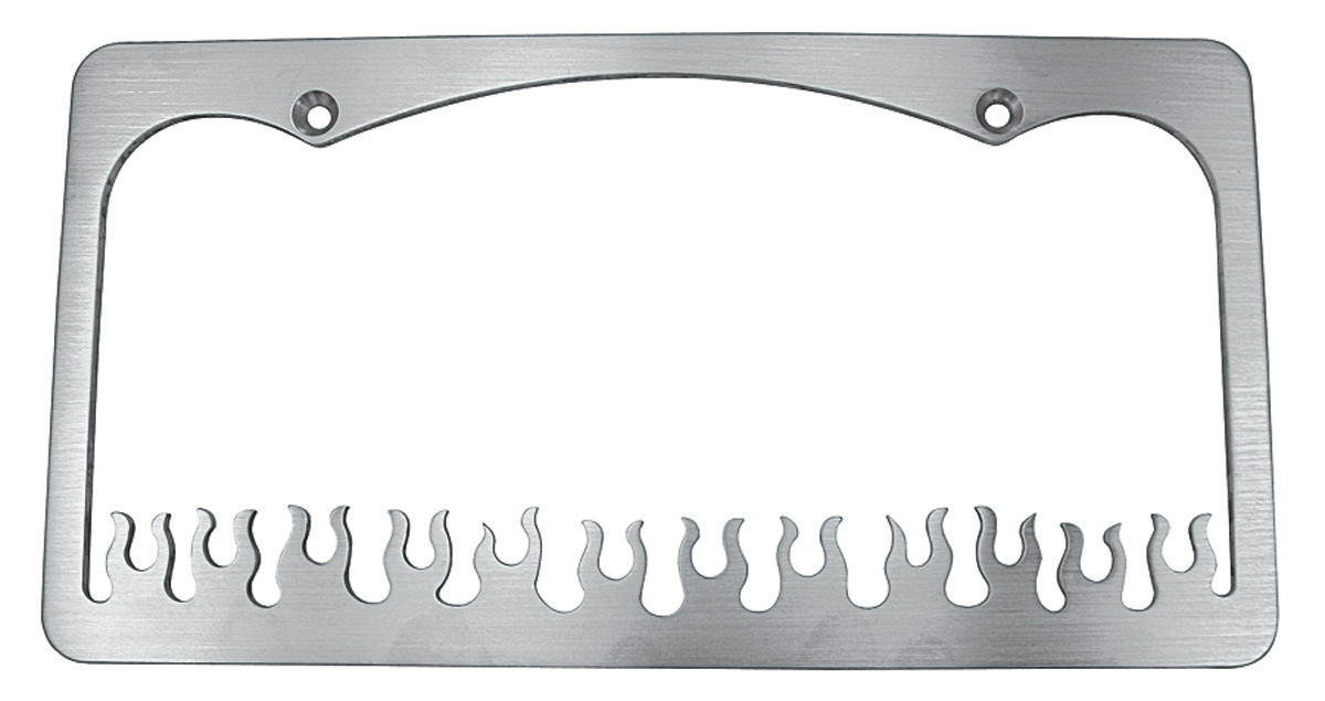 License Plate Frame, Flame, Brushed