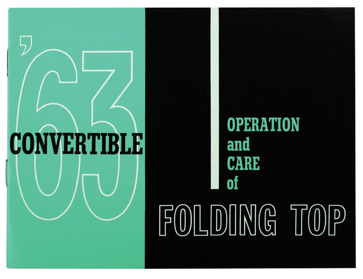 Manual, Convertible Top Operation, 1963 Cadillac/63 CV