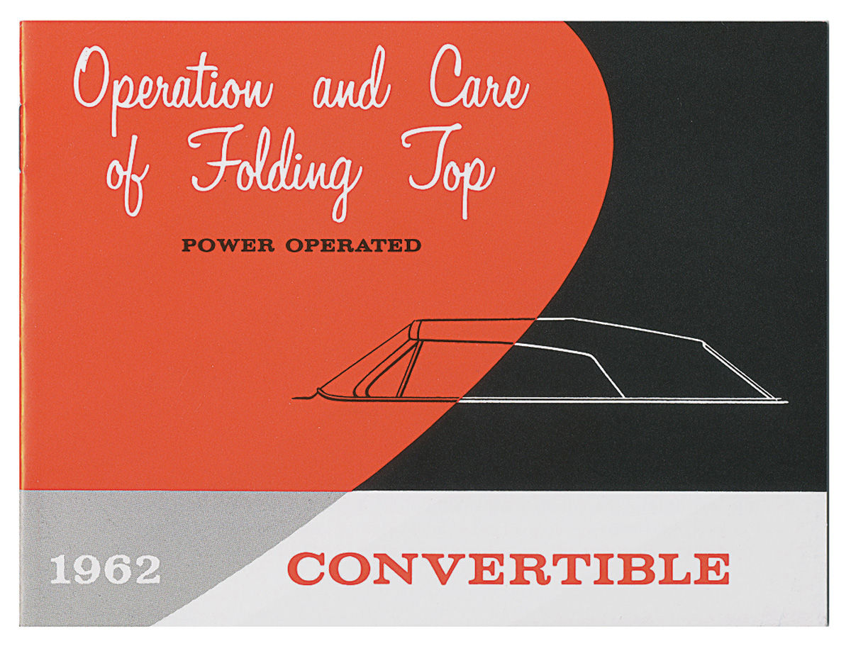 Manual, Convertible Top Operation, 1962 Cadillac